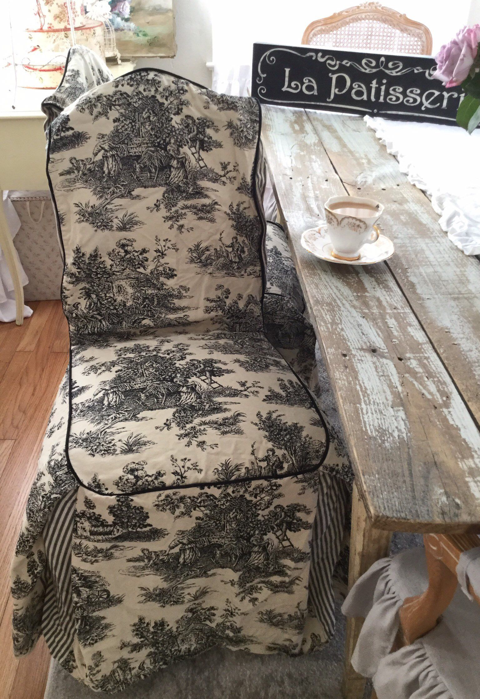 Cool Vintage Waverly French Country Toile Chair Slipcovers Shabby Inzonedesignstudio Interior Chair Design Inzonedesignstudiocom