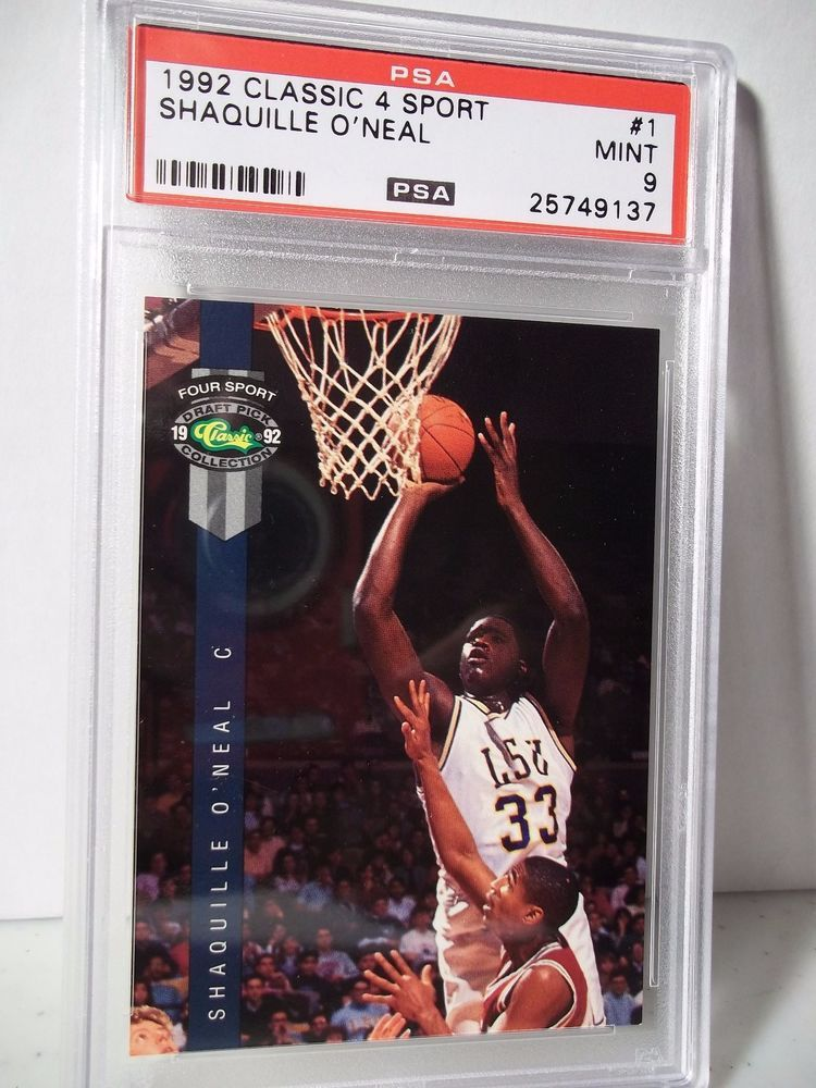 1992 classic 4 sport shaquille oneal rc psa mint 9