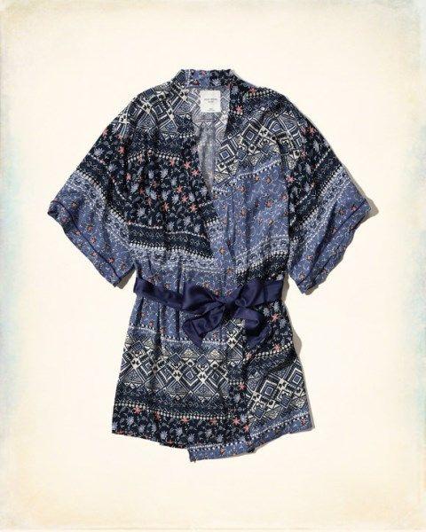 Hollister Women's Gilly Hicks Patterned Sleep Robes - Navy Pattern  (1100548) Modern