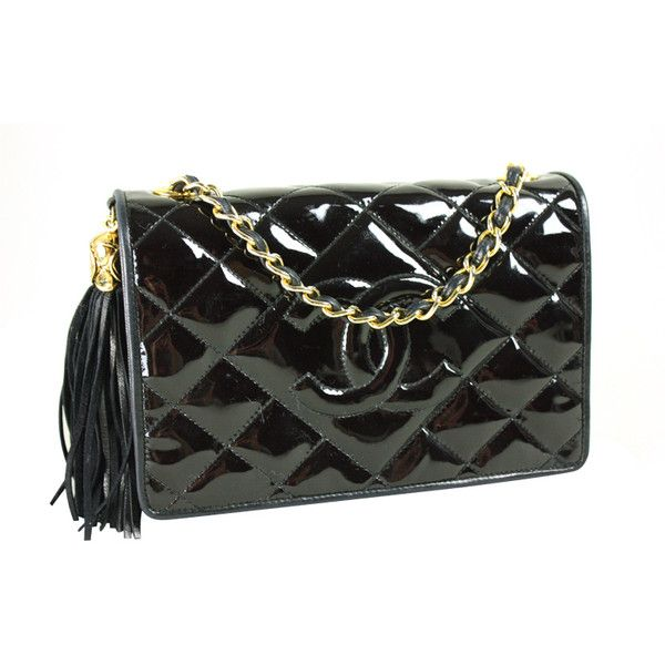 Chanel Black Patent Leather Quilted Handbag ❤ liked on Polyvore ...