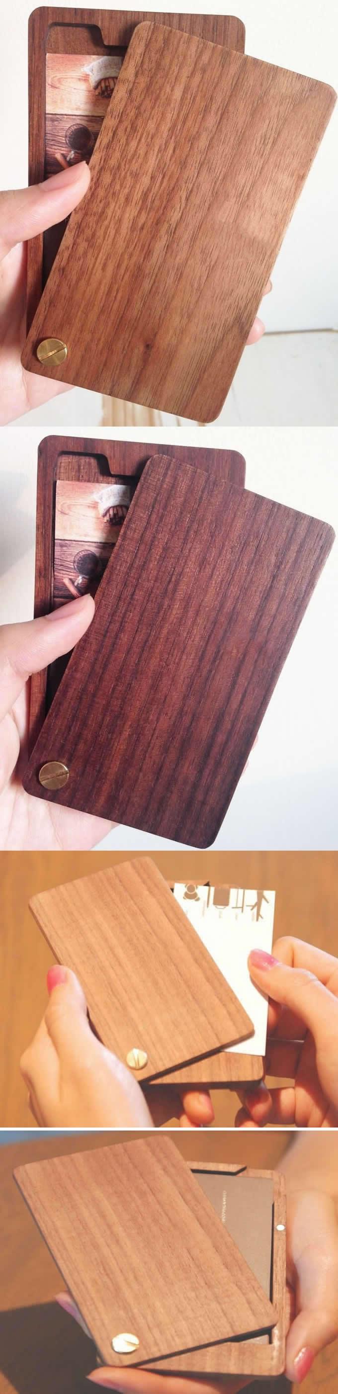 Slim Wooden Business Card Holder Case | концелярия | Pinterest ...