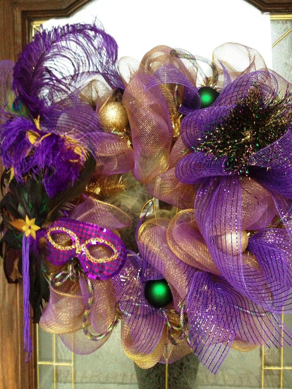 Mardi Gras Mesh Wreath by PinkTulipOfDaphne, via Etsy.