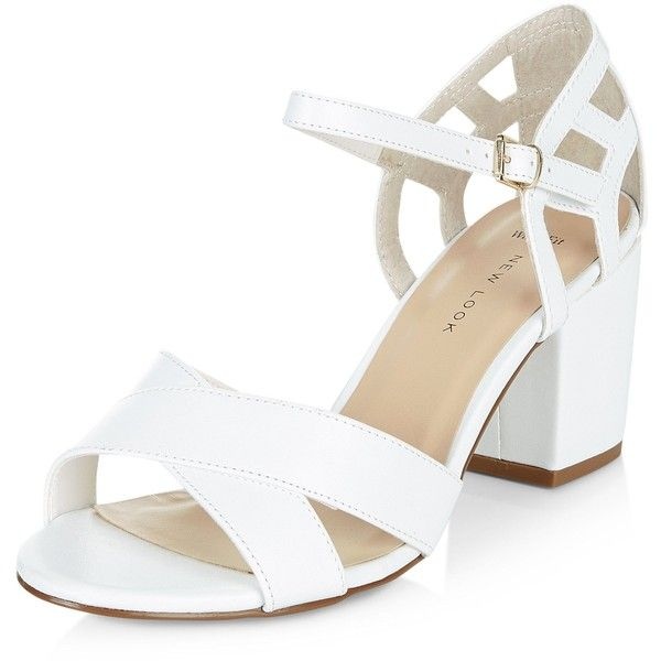 e40b79685e1c New Look Wide Fit White Cross Strap Cut Out Block Heel Sandals ( 28) ❤  liked on Polyvore featuring shoes