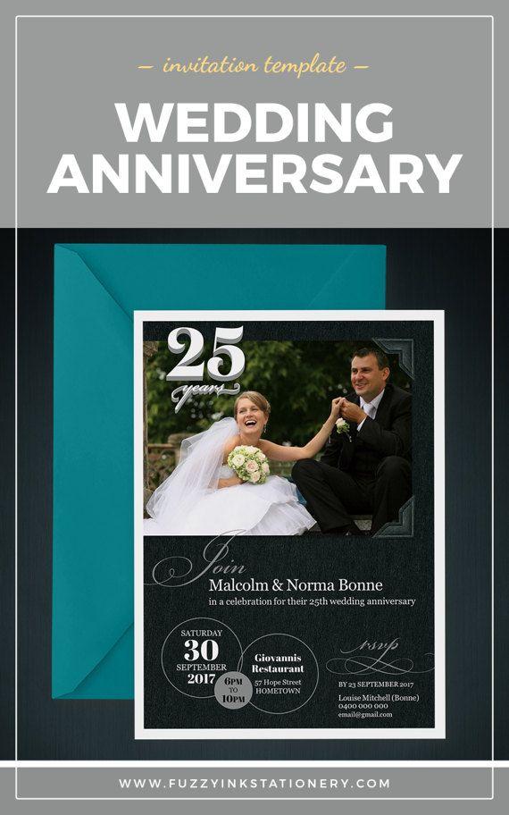 25th anniversary invite custom wedding anniversary party - anniversary invitation template