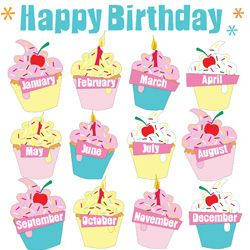 birthday cupcake chart: Cupcake birthday chart cakepins com teaching ideas pinterest