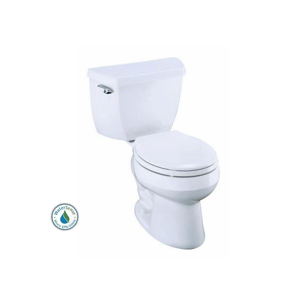 Kohler Wellworth 2 Piece 1 28 Gpf Round Toilet In White K 11497 0 At The Home Depot 148 00 Toilet Kohler Toilet Guest Bathrooms