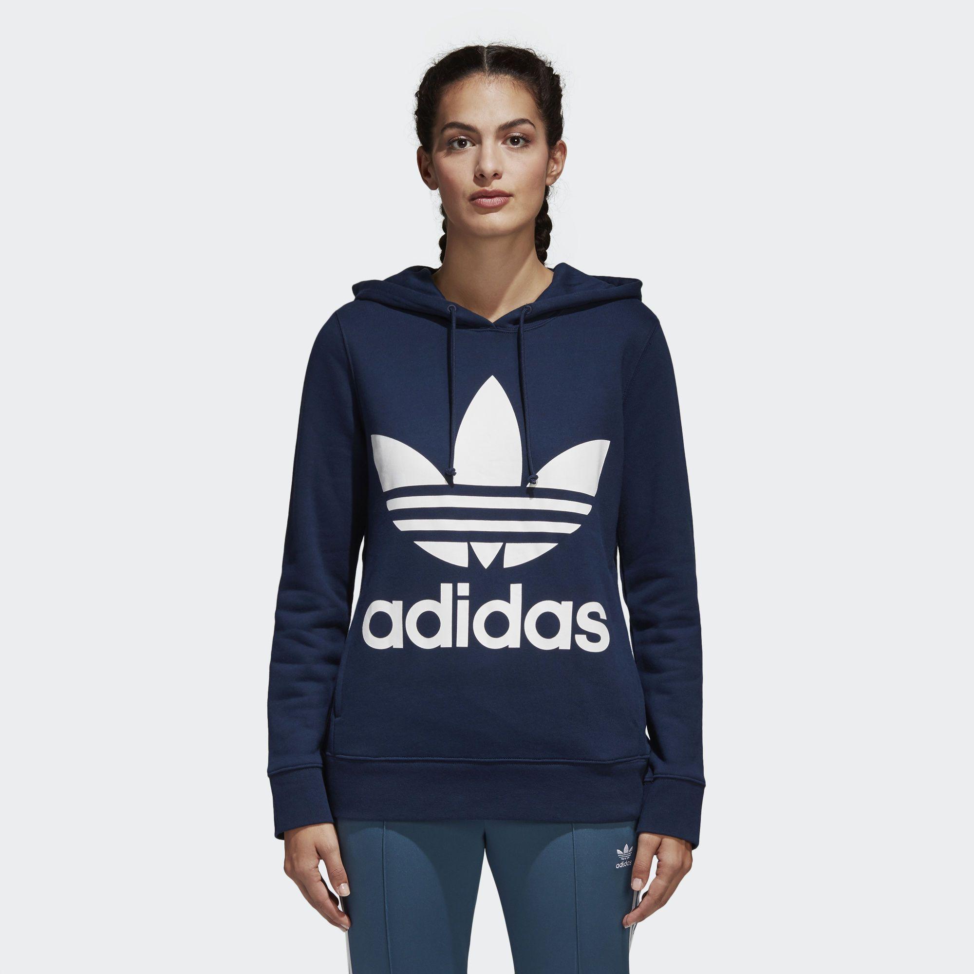 Adidas Trefoil Hoodie Blue Adidas Us Shirt Outfit Women Adidas Trefoil Hoodie Adidas Women Fashion [ 2000 x 2000 Pixel ]