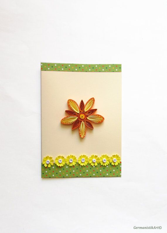 Mothers Day Card Blank Birthday Card Handmade Quilling Card Thanksgiving Card Flower