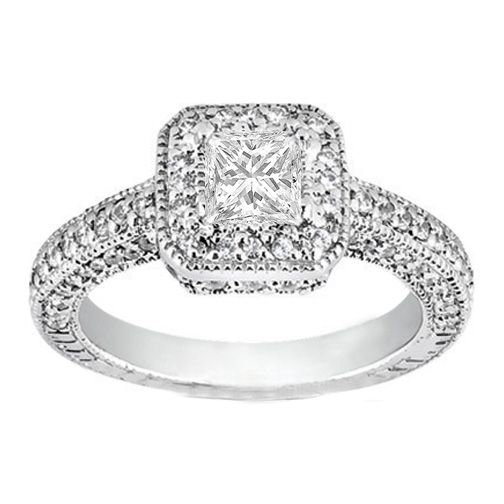 engagement ring princess cut diamond engagement ring vintage pave halo in 14k white gold 088 - Wedding Ring Princess Cut
