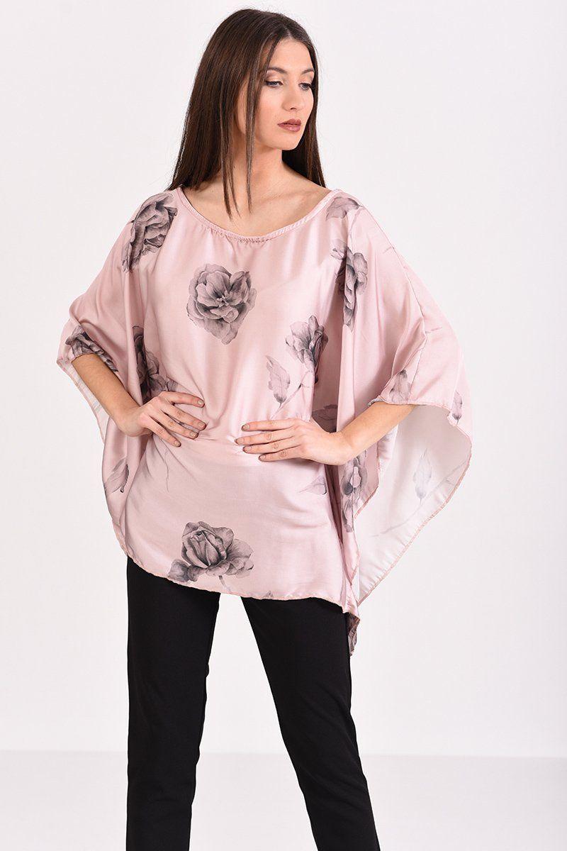 5945af055218 Μπλούζα σατέν με μανίκι νυχτερίδα σε ροζ χρώμα