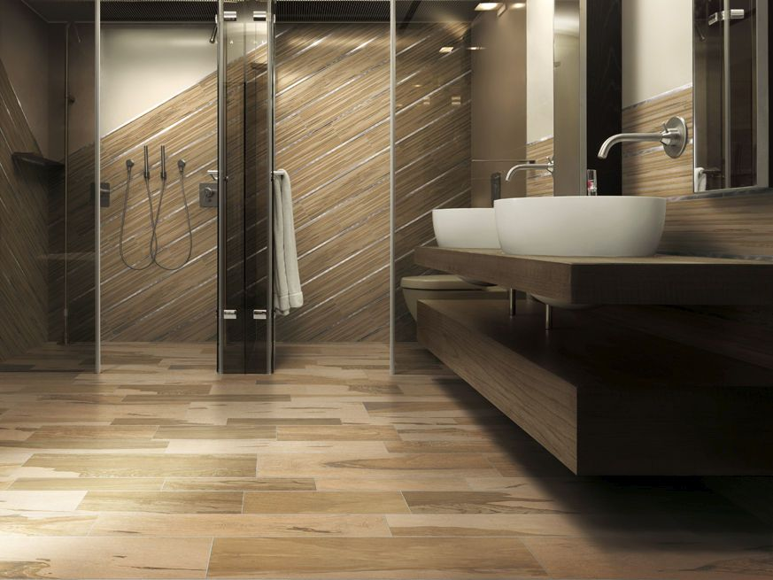 Bathroom porcelain stoneware wall tile: wood look over wall