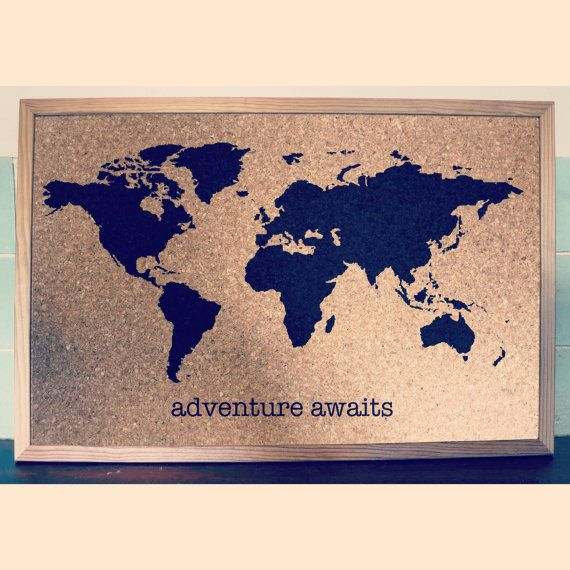 world map travel cork board personalised with name or quote wooden frame plain
