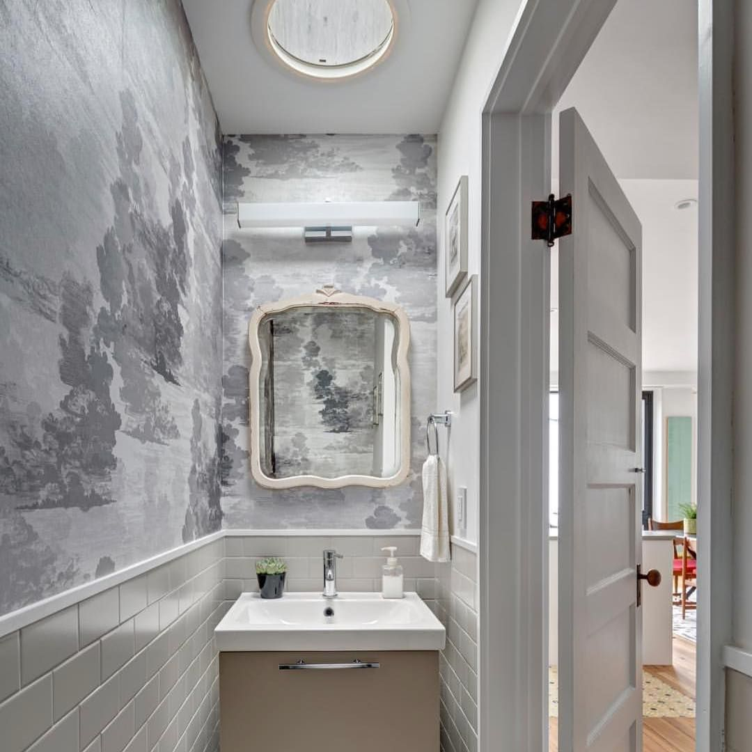 Bathroom Wallcovering French Toile Room Decor Bathroom: #ToileTuesday #regram From @bfdo_architects. TB Cloud Toile Wallpaper In Greys Looking Rather