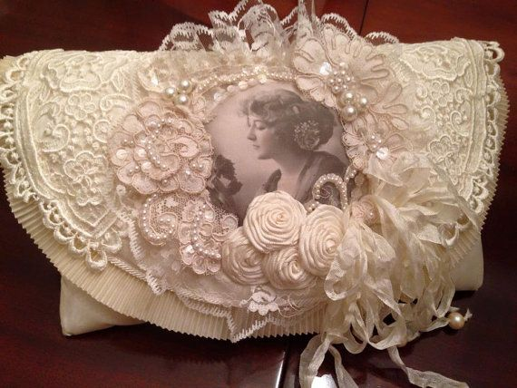 Vintage Style Altered Ivory Lace Clutch Bag