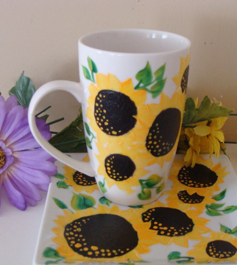 Sunflower Cup and Saucer Set, Sunflower Mug  Plate, Autumn dish ware, Sunflower Kitchen Decor, Fall Decor, Floral, Thanksgiving Dinnerware #dishware
