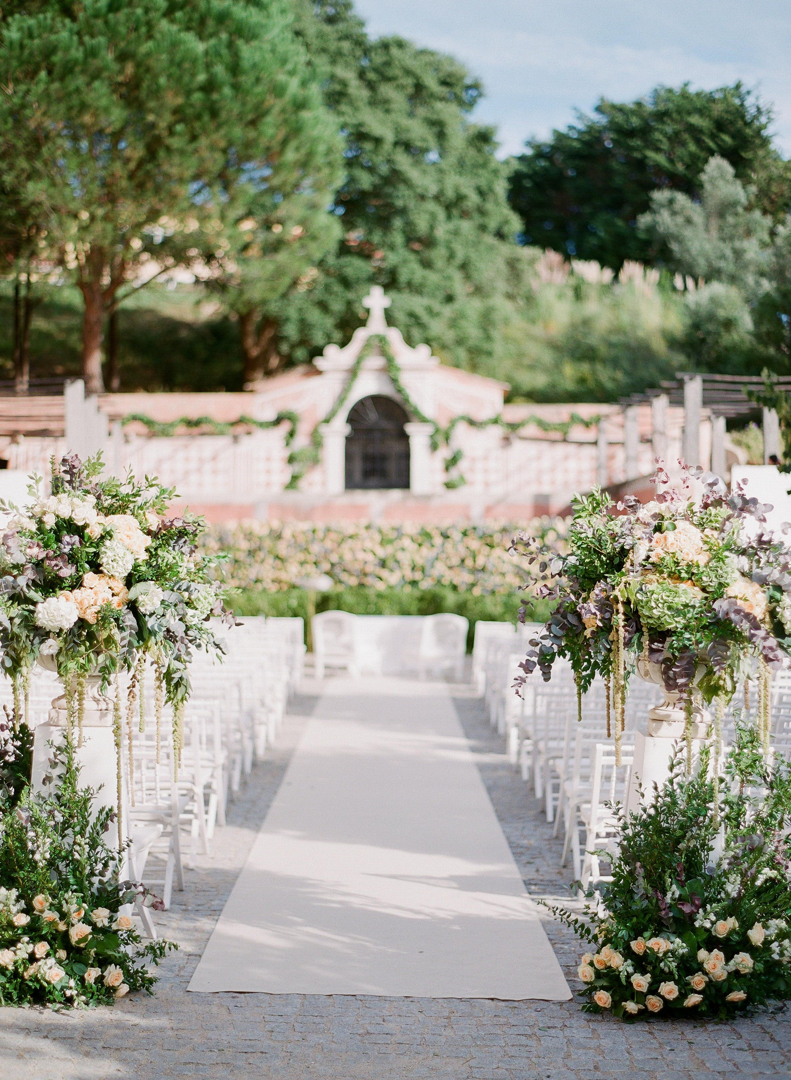 Stunning Ceremony Area Set In A Garden In Sintra Portugal Wedding Ceremony Location Outdoor Wedding Ceremony