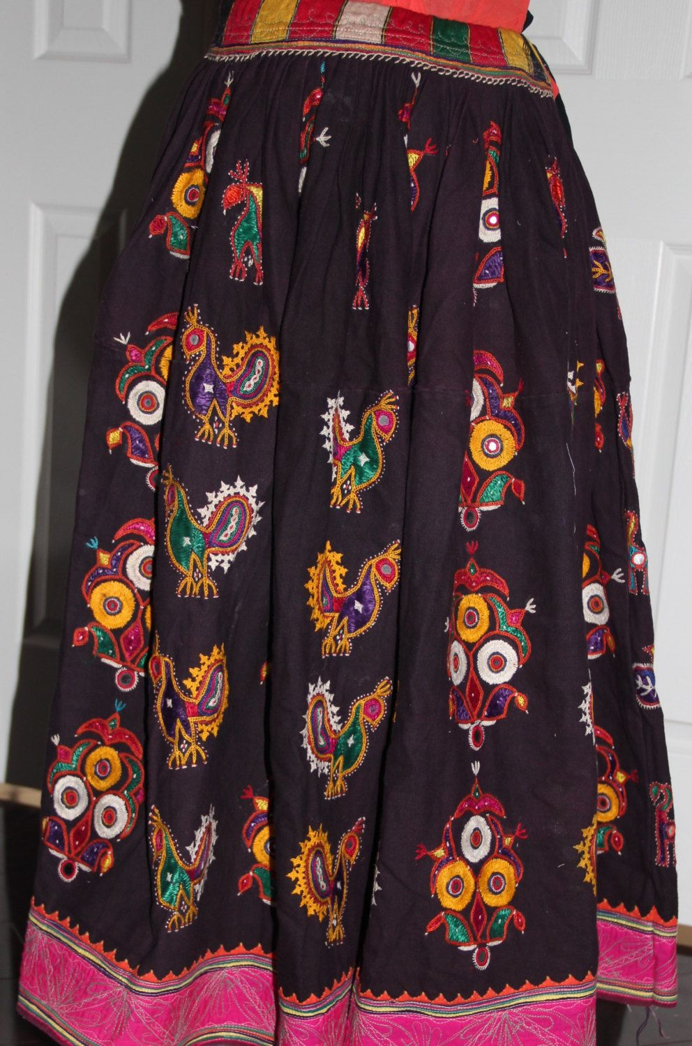 bae0d62ec054fc Beautiful Original Vintage Rabari Ghagra{Skirt} with Kutchi hand embroidery  accentuated with mirror work in black and eggplant colour by  EleganceByRajul on ...