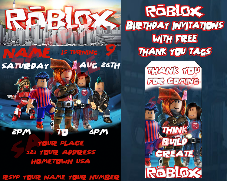 Roblox Birthday Invitation