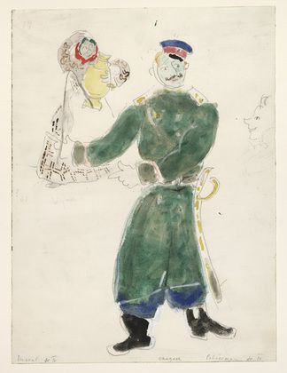 Marc Chagall. A Policeman and a Peasant, costume design for Aleko (Scene IV). (1942)