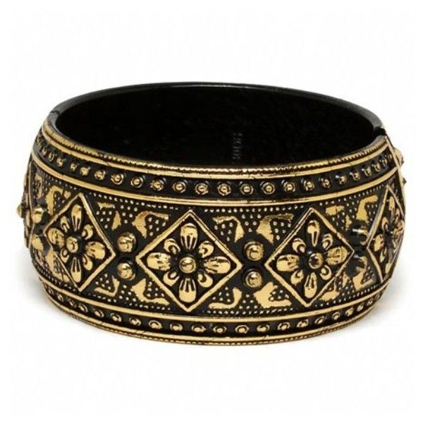 Martina's Black Ethnic Printed Boho Style Bangle - As Seen in Health... ($12) ❤ liked on Polyvore