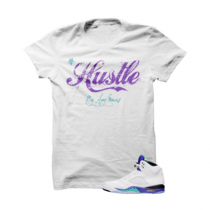 3791980be55e Hustle By Any Means Grape 5s White T Shirt. The Hustle By Any Means Grape