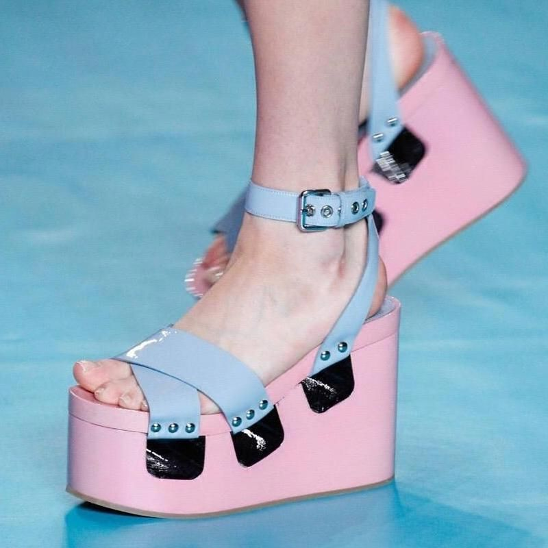 a5dda94ff62 women Shoes Pink Gladiator Sandals Sponge Bottom Belt Buckle High-Heeled  Platform Open Toe Sandals Boots Wedges Sandals-D1141  MiuMiu