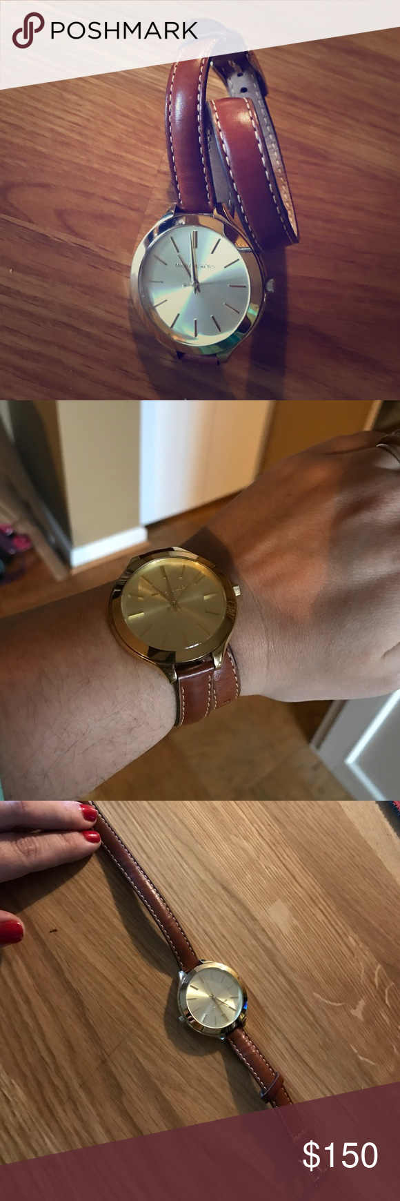 Michael Kors Women's MK2256 Brown Wrap Watch Michael Kors MK2256 Slim 42mm wide and 9mm thick gold plated solid stainless steel case with a fixed bezel and textured push-pull crown. Powered by an accurate quartz movement. Also features a shiny gold tone dial with gold tone luminous hands and index hour markers, scratch resistant mineral crystal and water resistant to 50 meters and is equipped with a 12mm wide brown double wrap leather strap with a buckle clasp. Used but in excellent…
