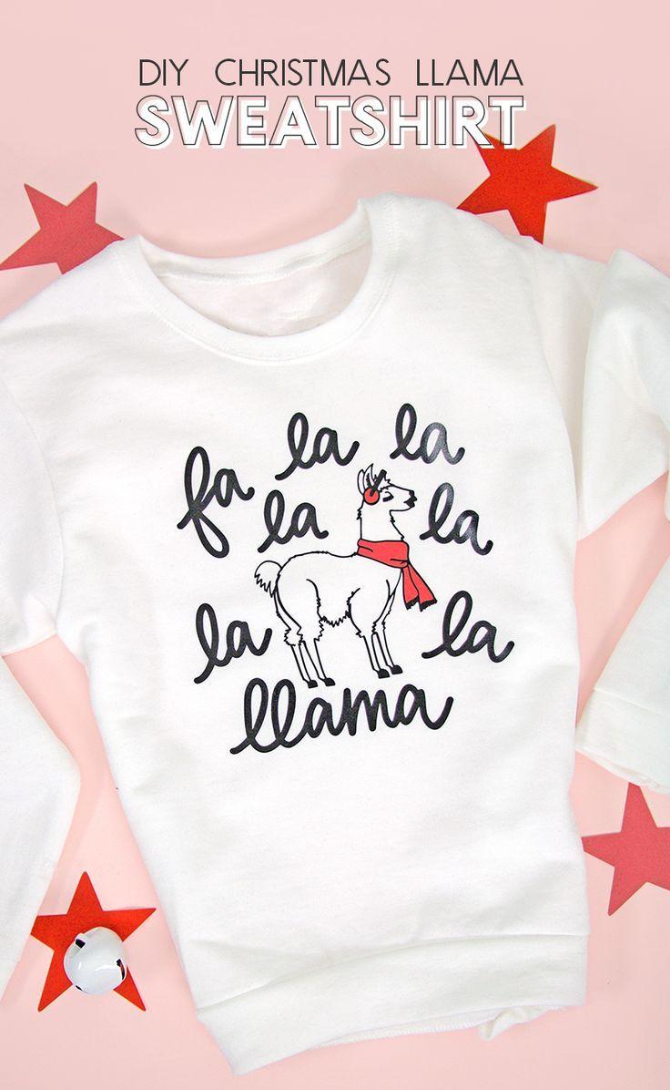 Llama Christmas Shirt.Fa La Llama Diy Llama Christmas Sweater With Free Cut File