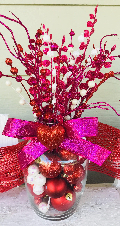 Valentine S Day Arrangement Valentine S Day Red Pink Home Decor Centerpiece Holiday Dec Valentine Centerpieces Valentines Day Decorations Valentines Diy