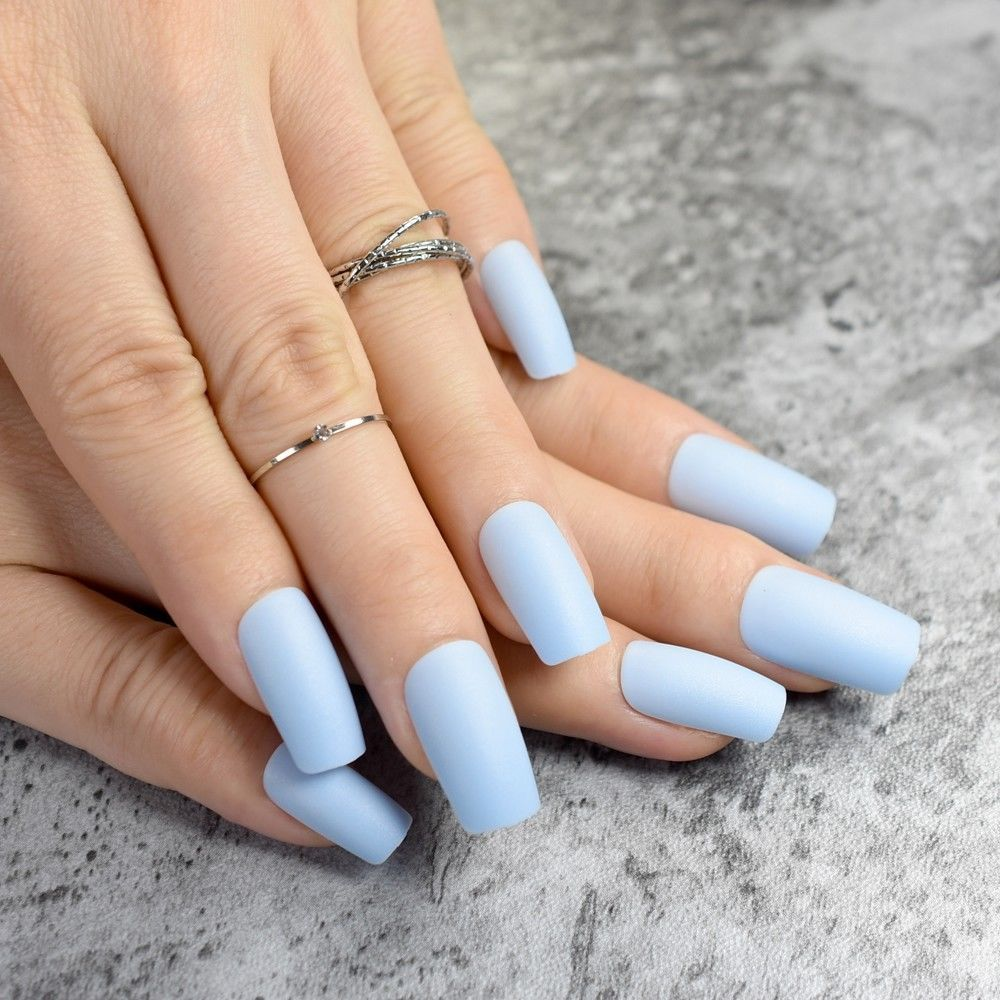 2 Fashion Matte Fake Nails Flat Top False Nails Light Blue Acrylic Nails Tips Ebay Fashion Blue Acrylic Nails Acrylic Nails Light Blue Acrylic Nail Tips