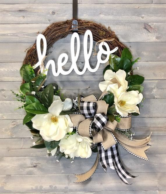 Photo of Magnolia Wreath for Spring Front Door, Spring Wreaths, Grapevine, Country, Black and White check, Floral Wreath, Hello