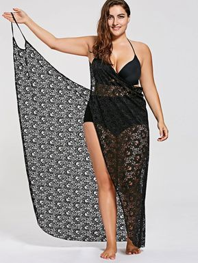 ee577d624 Plus Size Lace Cover Up Wrap Dress - BLACK 3XL | Praia Looks | Moda ...