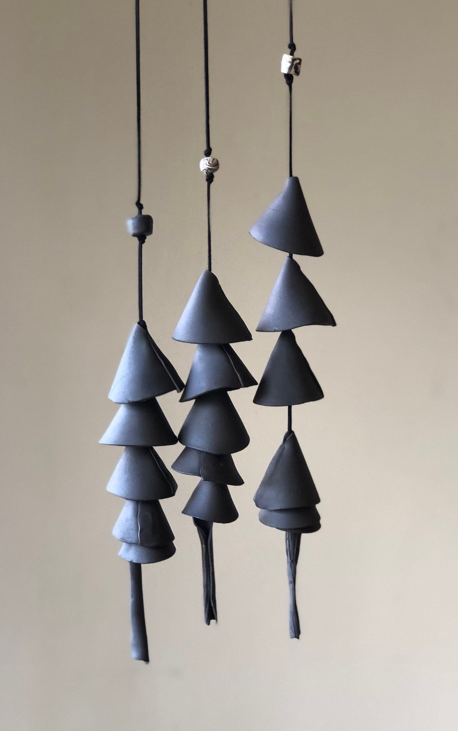 One Black Clay Ceramic Wind Chime Wrap Wind Chime Patio Etsy Black Clay Clay Ceramics Wind Chimes