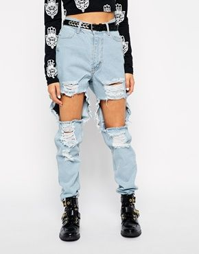 Your Eyes Lie Mom Jeans With Extreme Ripped Front | jeans ...