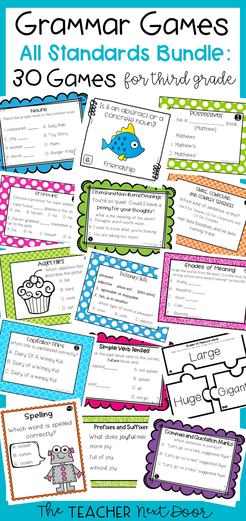 Grammar Games Bundle For 3rd Grade Grammar Games Grammar Centers Grammar [ 1728 x 816 Pixel ]