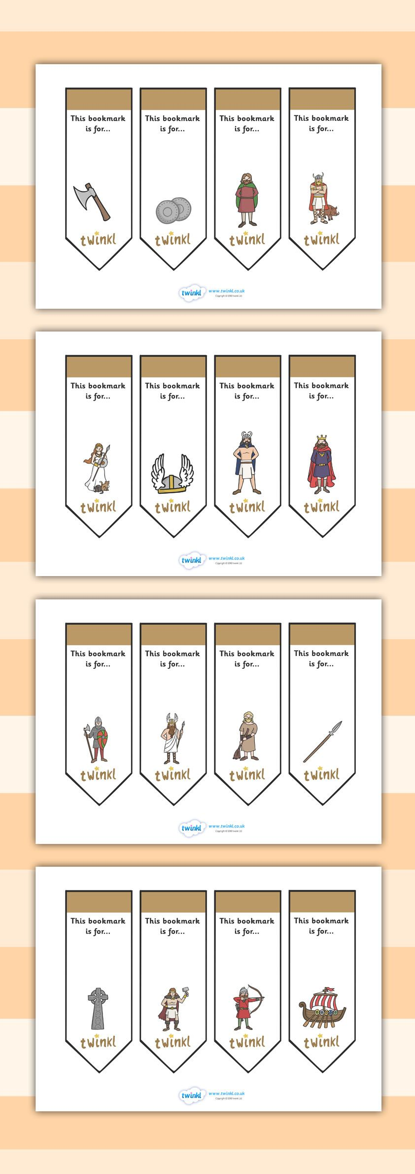 Twinkl Resources Editable Bookmarks Vikings Thousands Of