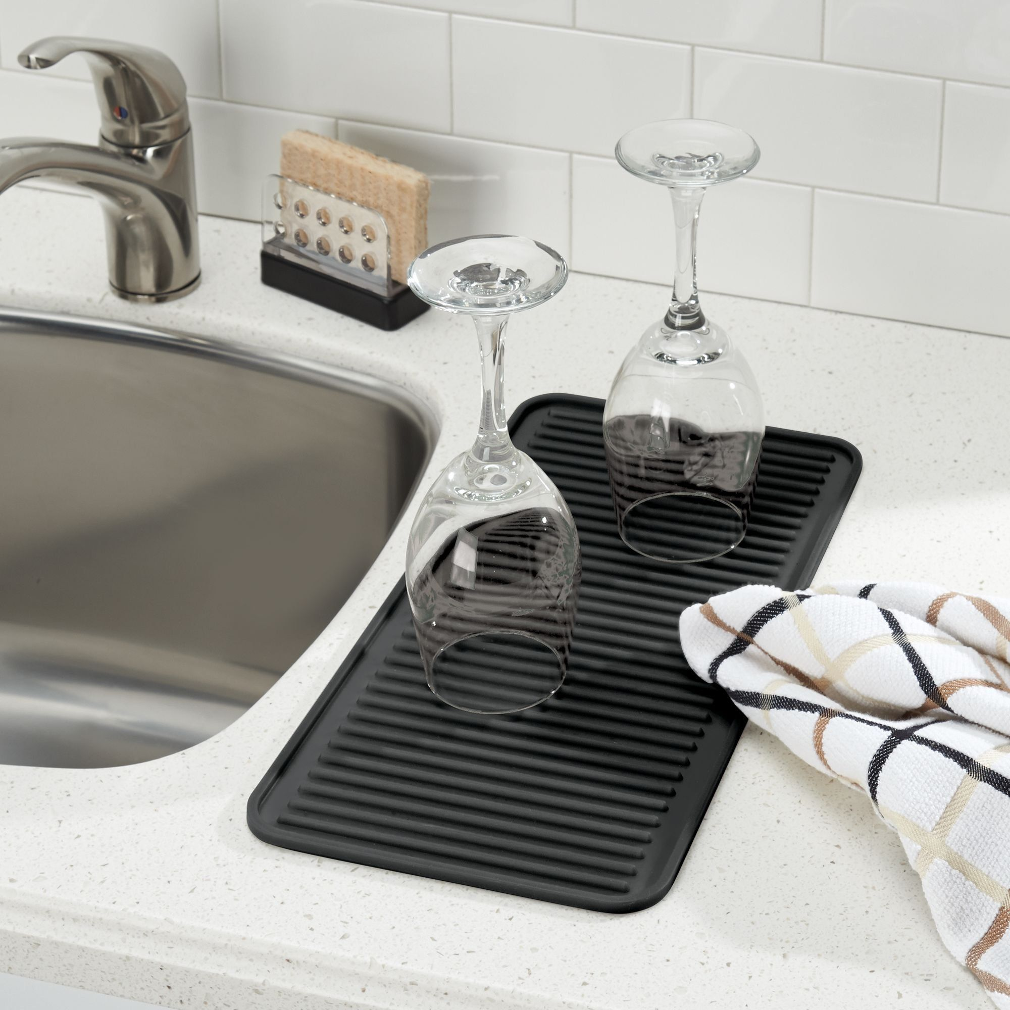 Mdesign Silicone Dish Drying Mat And Protector For Kitchen Countertops Sinks Ribbed Design Heat Resistant Dishwasher S Dish Rack Drying Sink Dish Rack Mdesign