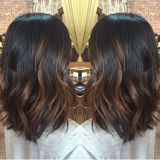 Black Balayage Hair Color for Short Hair