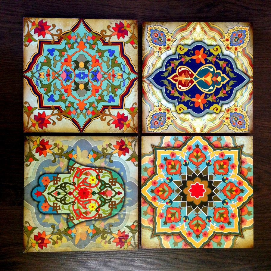 Hamsa Hand Moroccan Wall Art Set Wooden Blocks 8x8 Set Of 4 Best Home Decor Gift Hamsa Hand Wall Art Moroccan Wall Art Moroccan Wall Art Wall Art Sets Art
