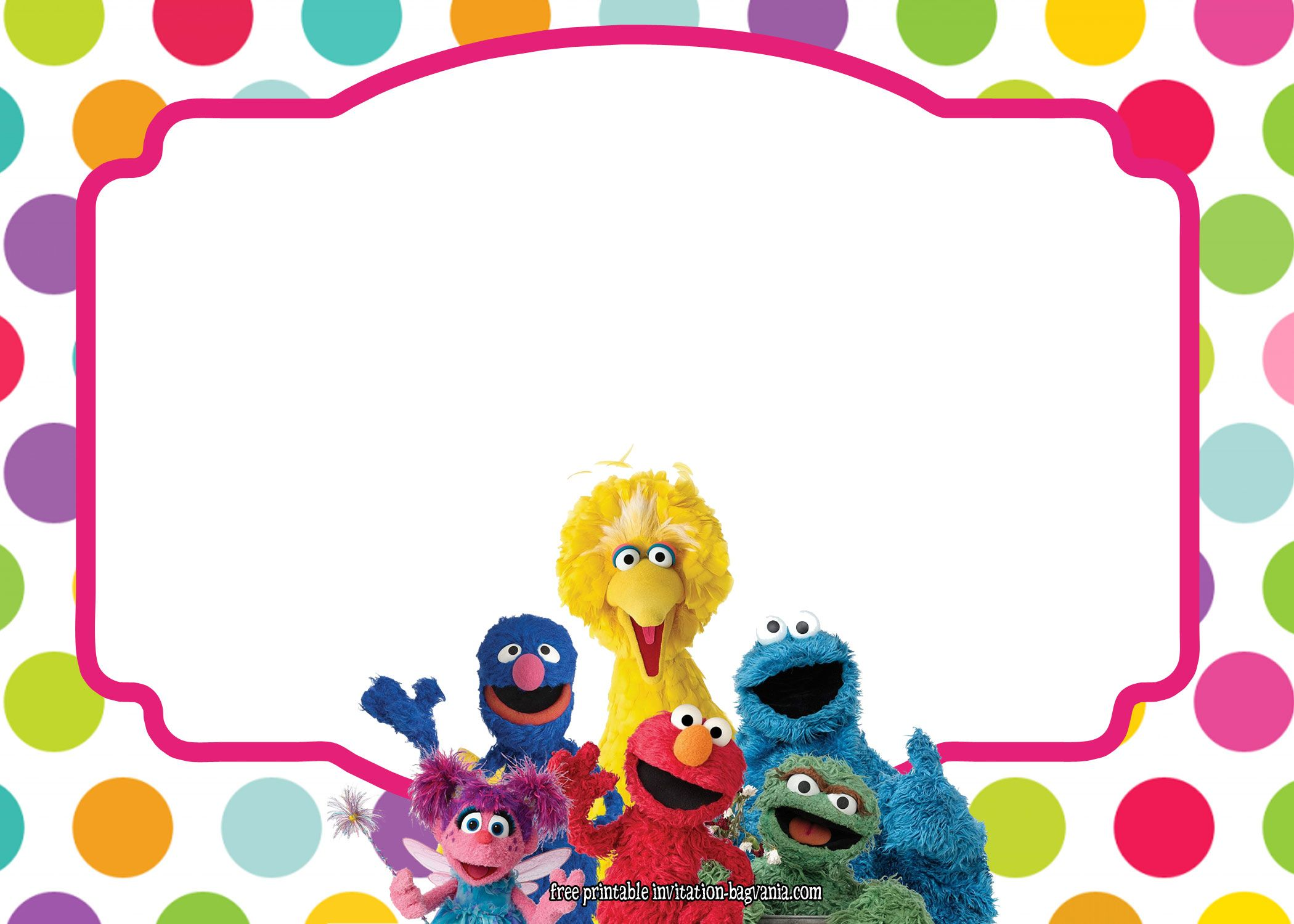 cool sesame street all characters invitation template