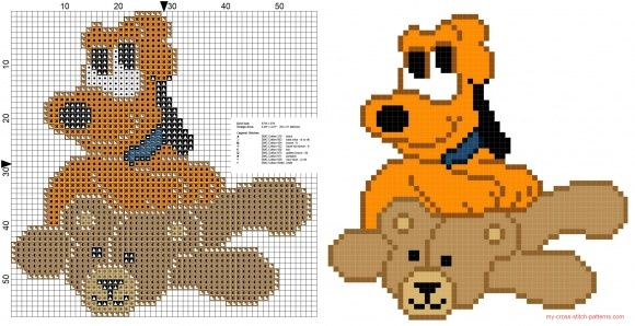 Baby Pluto with teddy bear cross stitch pattern free | Point de ...