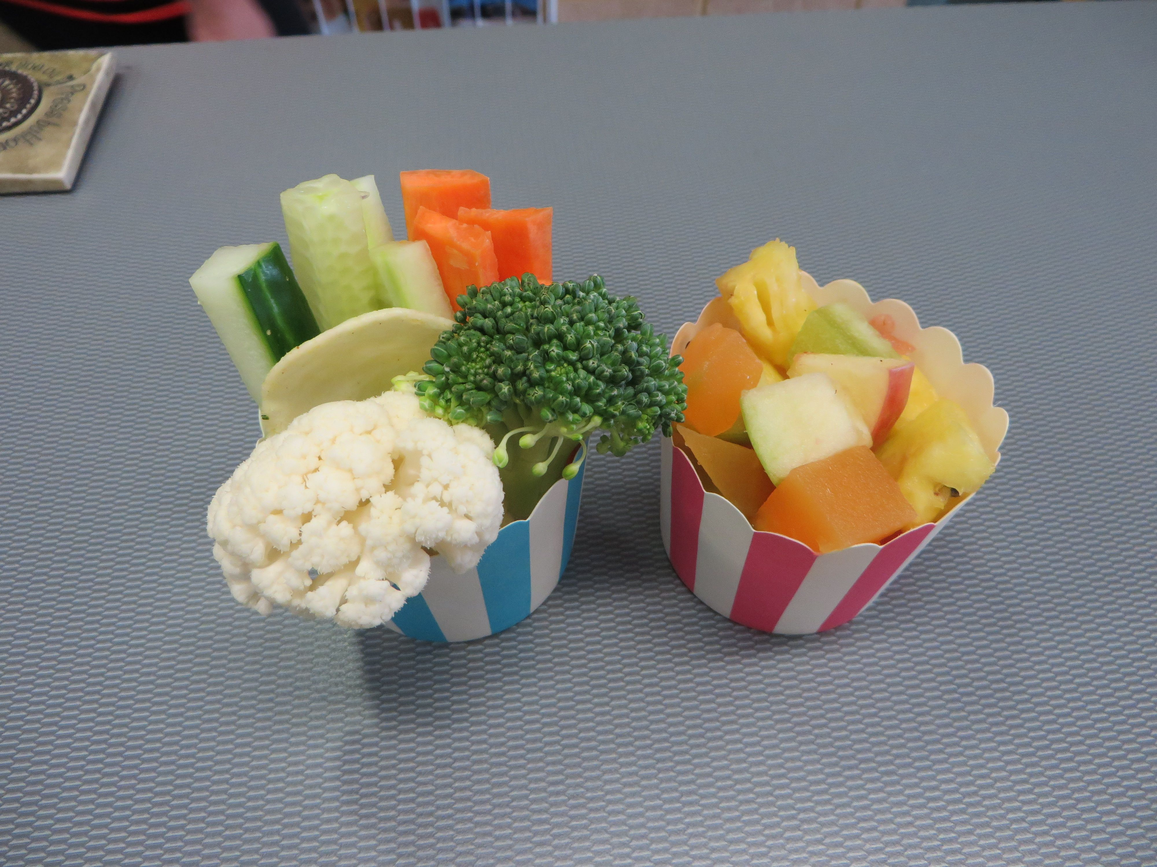 Fruit cups or vegie and dip cups, both available from the canteen ...