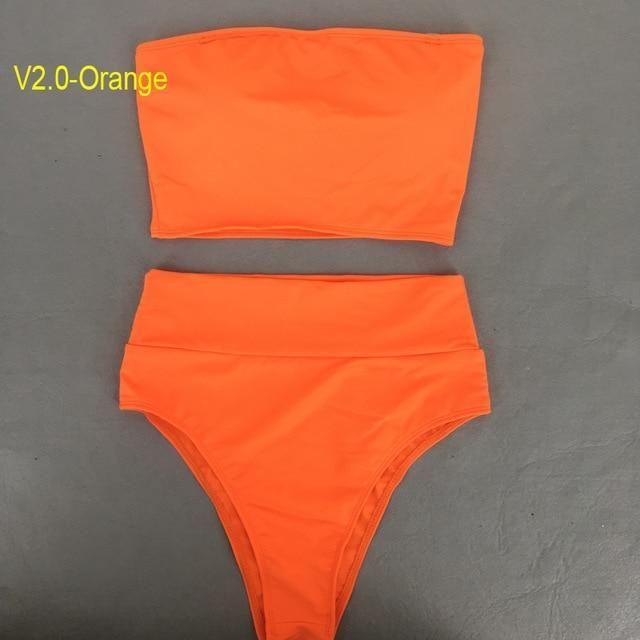 a26d4f55e0 Solid Sexy High Waist Swimsuit Tube Top Bikini Bandeau Thong Women Plus  Size Swimwear 2018 Biquinis Swimming Suit Bathing Suit