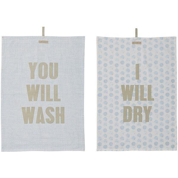 Bloomingville Set Of 2 Kitchen Towels   50x70cm   Sky Blue/Grey ($23)