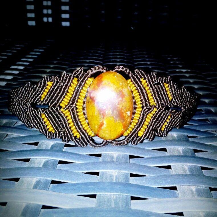 Moss agate macrame bracelet