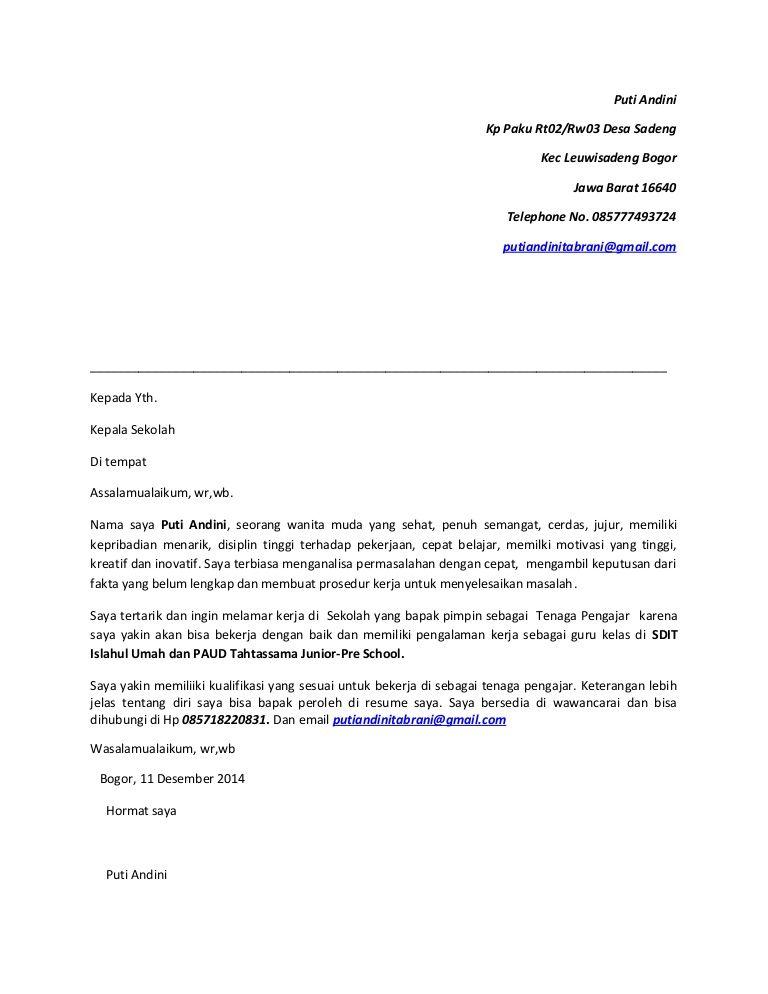 Contoh Surat Lamaran Kerja Guru Paud Ben Jobs Tatokwidiyanto