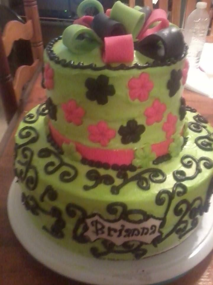 fondant and buttercream decorated cake