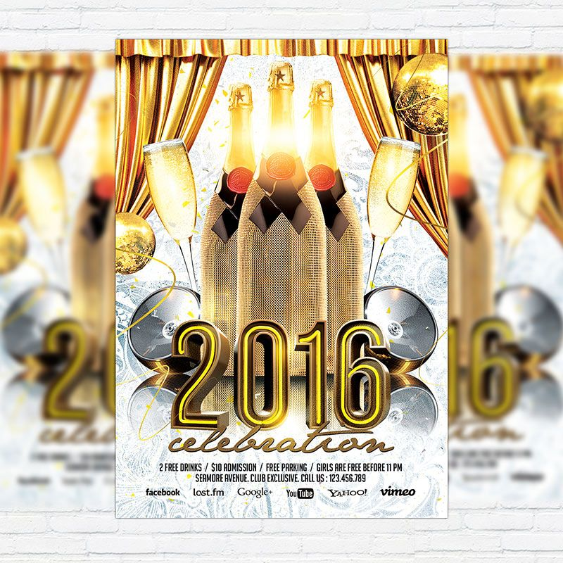 2016 Party - Premium Flyer Template + Facebook Cover http - new year brochure template