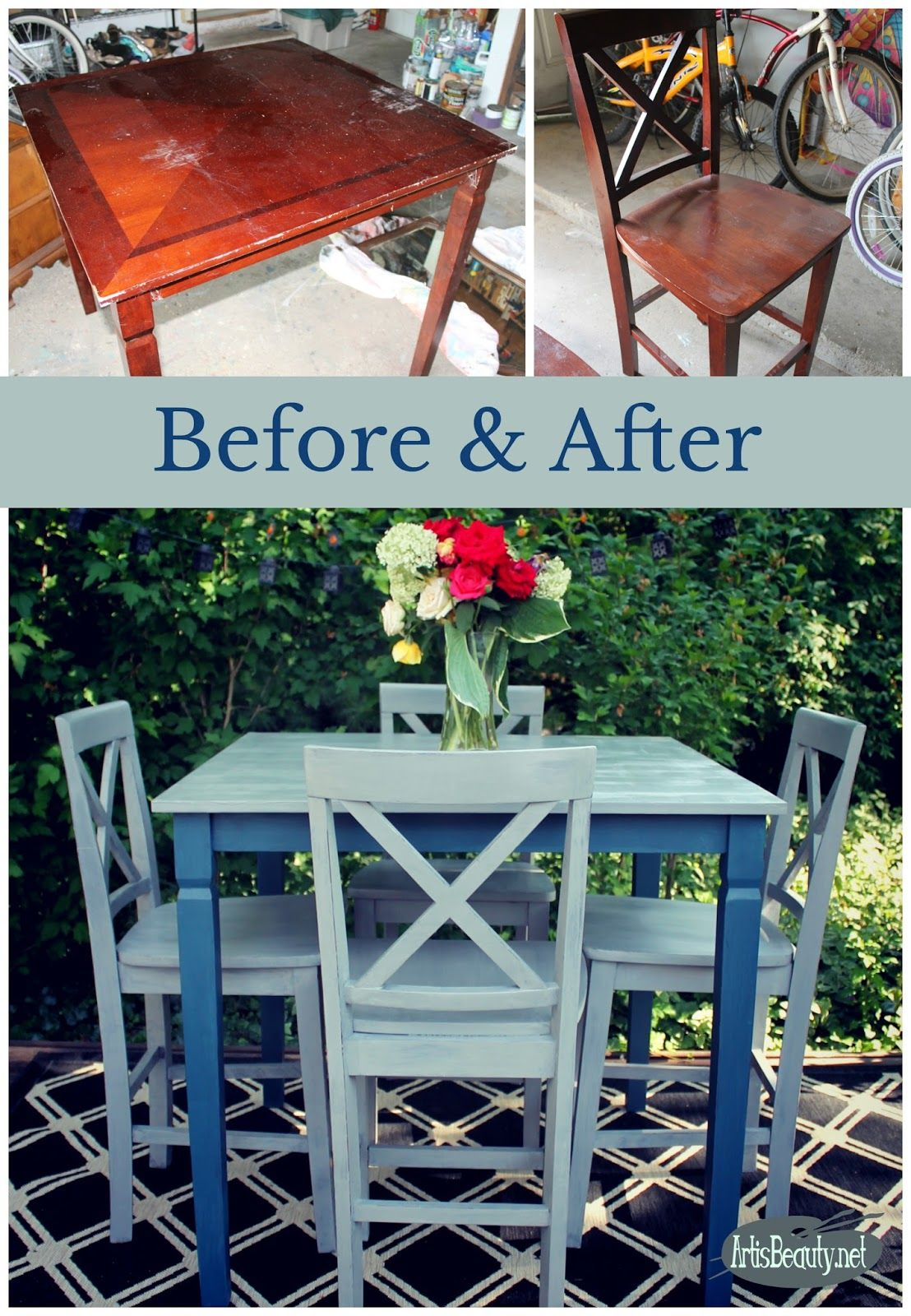 Funky Farmhouse Rescued Table and Chairs Painted Makeover ...