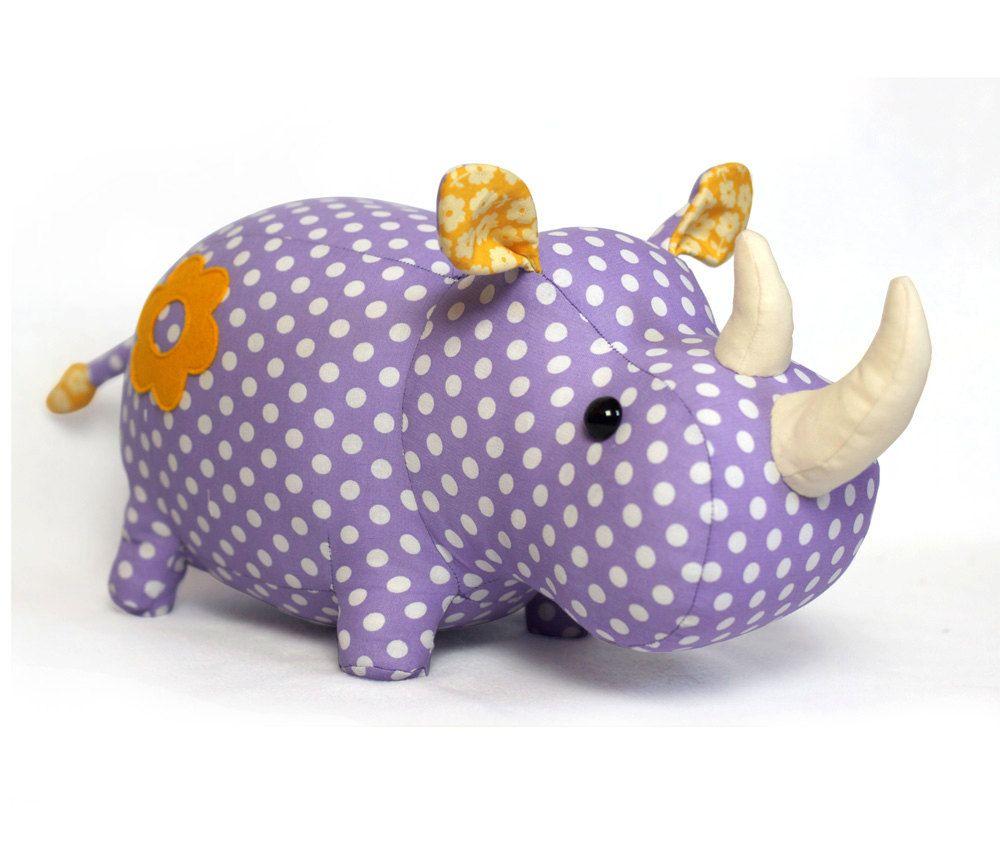 Rhino stuffed animal toy sewing pattern tutorial rhinoceros PDF ...